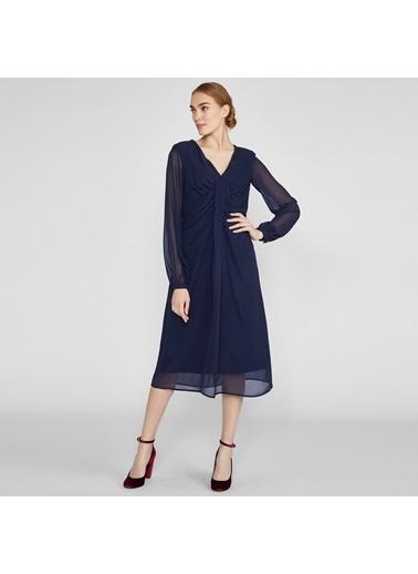 Vekem-Limited Edition V Yaka Uzun Kollu Midi Boy Şifon Elbise Lacivert